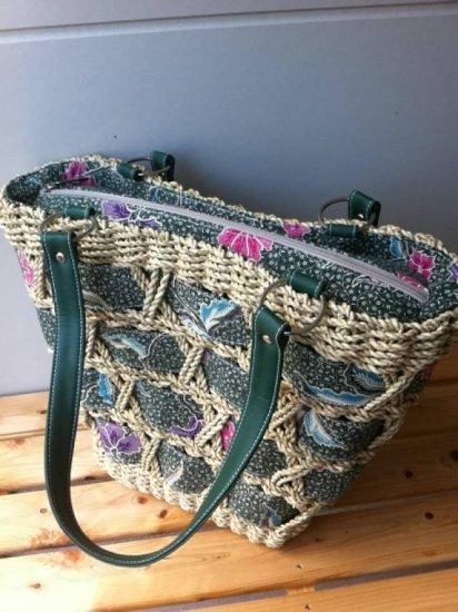 天然パンダン手編み ジッパー トートバッグ #G103