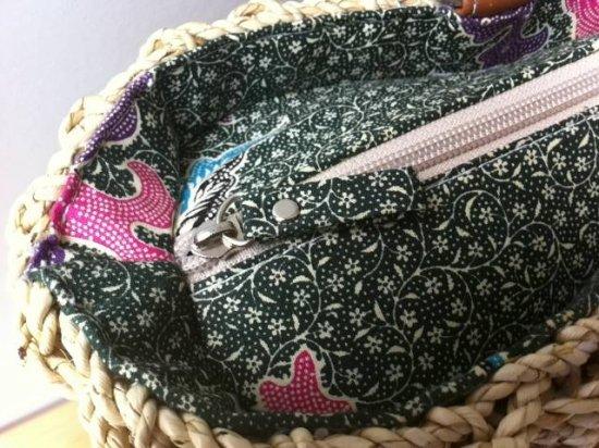 天然パンダン手編み ジッパー トートバック #G104
