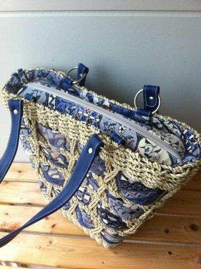 天然パンダン手編み  ジッパー トートバッグ #B110