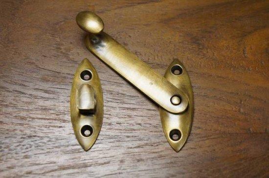 アンティーク調 ブラス ロック金具 中 真鍮製 掛金