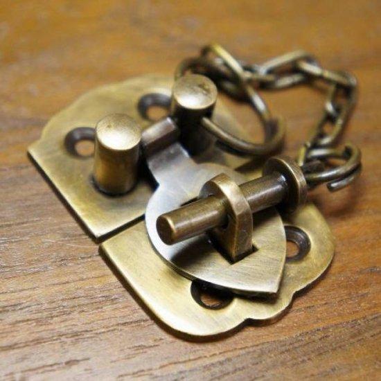 アンティーク調 デザイン ロック金具 真鍮製 掛金