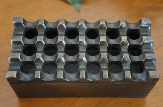 アンティーク調 エスニック 灰皿 アシュトレー アルミニウム ブラス色仕上げ 横長