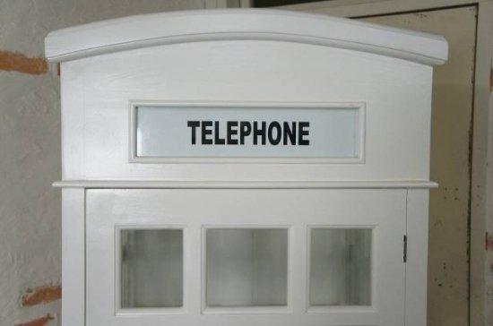 英国調 イギリス 電話ボックス型 大型シェルフ  棚 店舗什器 ホワイト