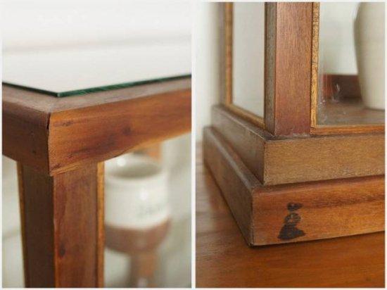 卓上 ガラスケース 古木 3段 5面 収納棚 飾り棚 駄菓子 店舗什器