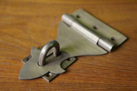 アンティーク調 ヒンジ式ロック 金具 真鍮色 掛金