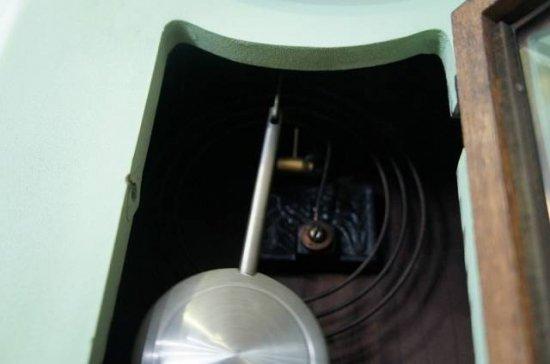 アンティーク レトロ Meiji 柱時計 掛時計 明治時計 ミントグリーン ペイント