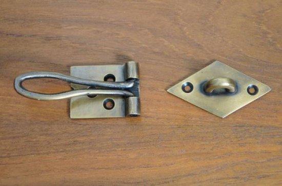 アンティーク調 ヒンジタイプ ロック金具 真鍮製 掛金 ブラス