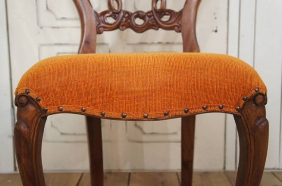 アンティーク調 ヴィクトリア バルーンバック チェア サロンチェア 猫脚 オレンジ
