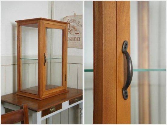 卓上 ガラスケース  古木 2段 5面 収納棚 飾り棚 縦長 駄菓子 店舗什器