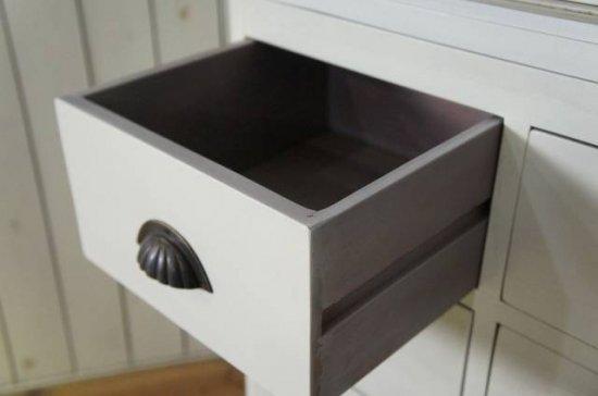 アンティーク調 ペイント キャビネット 食器棚 引き出し 15杯 ドロワ― 白