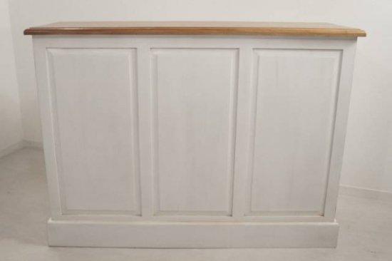 アンティーク調 カウンター 抽斗 引戸 収納棚 レジ台 ホワイト 木目天板 店舗什器