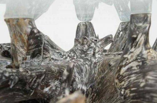 チーク無垢 ガラステーブル リビングテーブル センター 円
