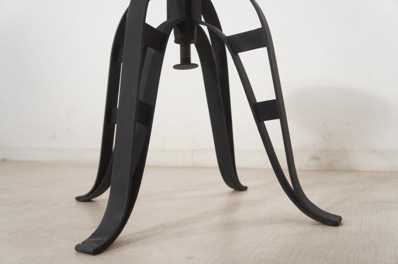 工業系アンティーク調 回転 鉄脚スツール チーク座面 インダストリアル