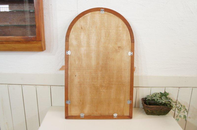 アンティーク調 木枠 ミラー 壁掛け鏡  アーチフレーム