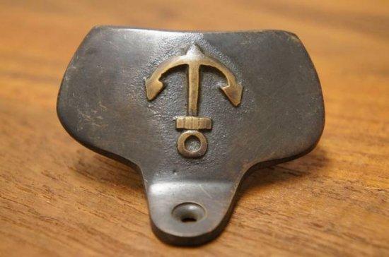アンティーク調 レトロ 栓抜き オープナー 碇マーク ブラス 真鍮製 掛金