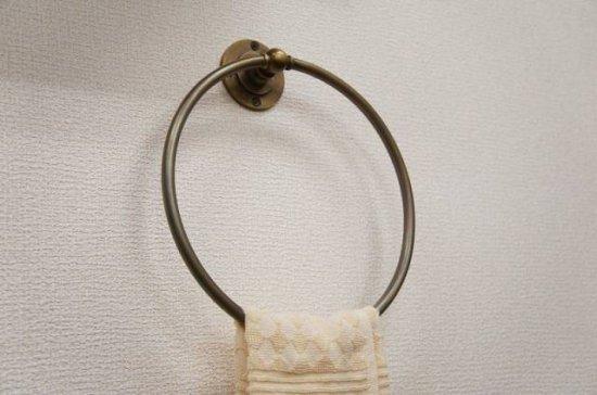 アンティーク調 壁掛け タオルハンガー オーバル 真鍮製 ブラス