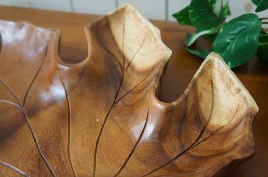 オリジナル ハンドメイド 葉っぱ型 サラダボウル 木製トレイ モンキーポッド 大型 47cm