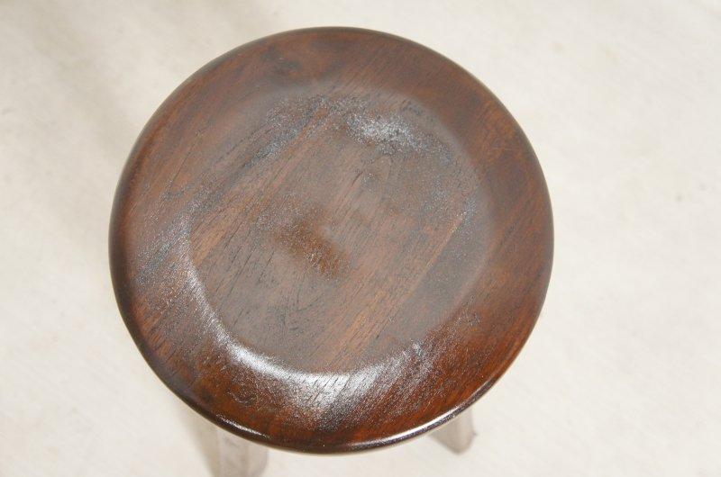アンティーク調 レトロ チーク スツール 総無垢 木製椅子 花台 ダーク イス