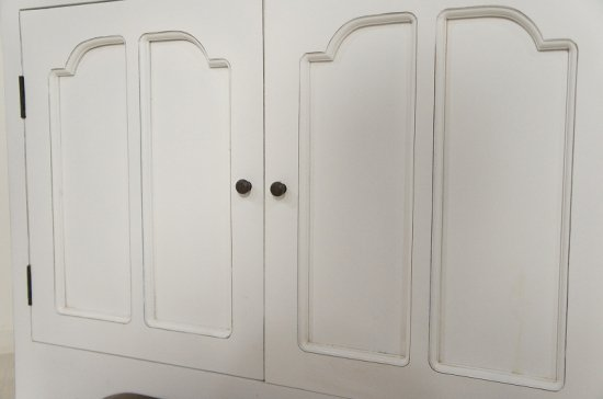 アンティーク調 大型食器棚 ホワイト キャビネット シャビーペイント