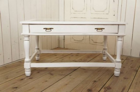 アンティーク調 コレクションケース ローテーブル シャビーホワイト