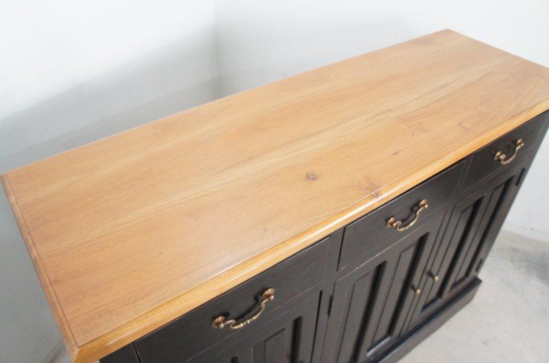 アンティーク調 カウンター 抽斗 引戸 収納棚 レジ台 ブラック 木目天板 店舗什器