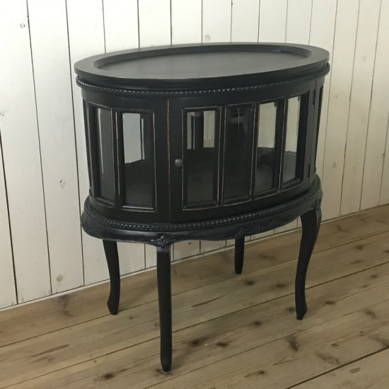 アンティーク調 オーバル ティーテーブル 猫脚 キャビネット ブラック