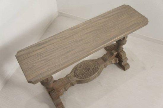 アンティーク調 木製 ミニベンチ 花台 マホガニー 天然木目 G