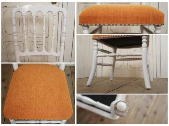アンティーク調 ナポレオンチェア レトロな白家具 座面オレンジ