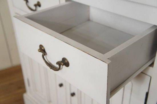 アンティーク調 カウンター 抽斗 引戸 収納棚 レジ台 シャビー ホワイト 店舗什器 ロング