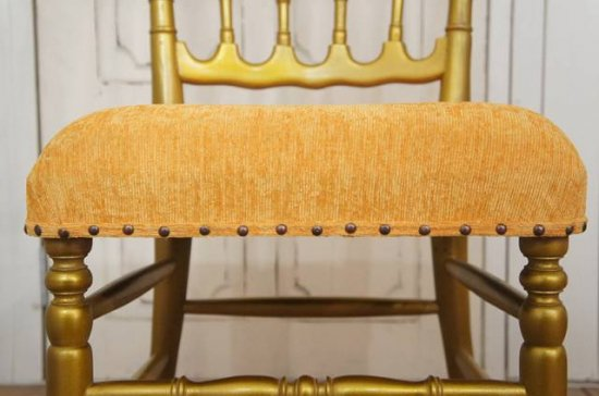 アンティーク調 レトロ ナポレオンチェア 金塗り 座面黄色