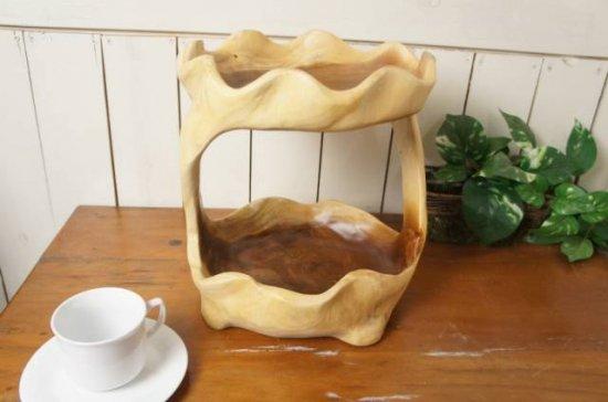 オリジナル ハンドメイド 2段 サラダボウル 木製トレイ モンキーポッド 27cm
