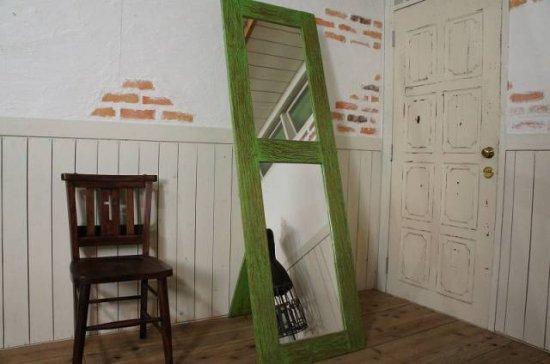 アンティーク オールドチーク ドア 姿見鏡 ミラー ラスティック グリーン