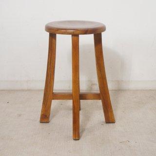 アンティーク調 レトロ チーク スツール 総無垢 木製椅子 花台 ナチュラル イス