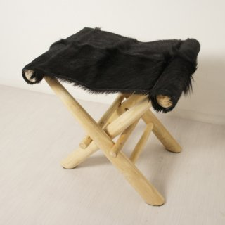 アンティーク調 ホールディングチェア 毛皮張 チーク ハラコ 折畳椅子 黒