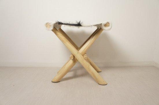 アンティーク調 ホールディングチェア 毛皮張 チーク ハラコ 折畳椅子 白黒MIX