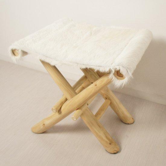 アンティーク調 ホールディングチェア 毛皮張 チーク ハラコ 折畳椅子 白