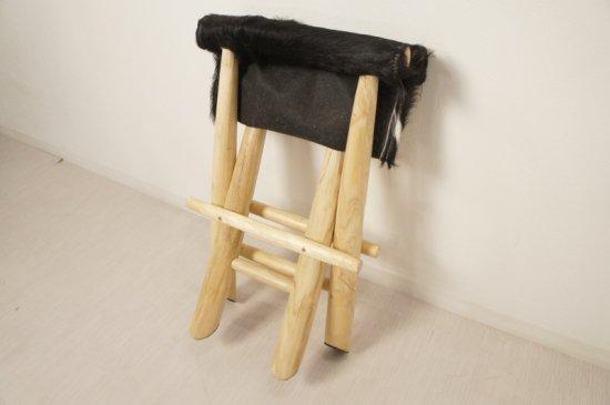 アンティーク調 ホールディングチェア 毛皮張 チーク ハラコ 折畳椅子 黒白MIX