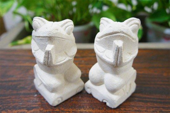 パラス石 石彫り バリ島 アジアン オブジェ 置物 カエル 10cm (お願い左右セット)