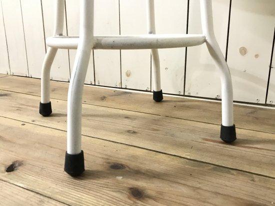 アンティーク調 丸イス スツール ホワイト ナチュラル座面 チーク無垢材 鉄脚 アイアン 工業系 インダストリアル
