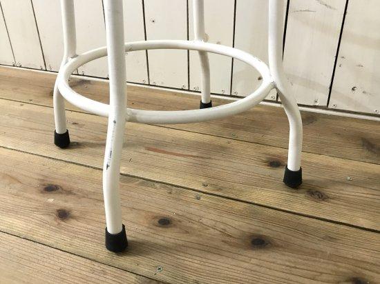アンティーク調 丸イス ハイスツール ホワイト ナチュラル座面 チーク無垢材 鉄脚 アイアン 工業系 インダストリアル