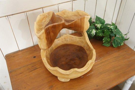 オリジナル ハンドメイド 2段 サラダボウル 木製トレイ モンキーポッド 27cm #2