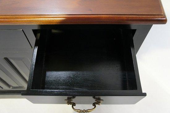 アンティーク調 カウンター 抽斗 引戸 収納棚 レジ台 ブラック 木目天板 店舗什器 ロング