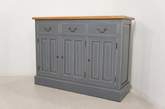 アンティーク調 カウンター 抽斗 引戸 収納棚 レジ台 グレー 木目天板 店舗什器