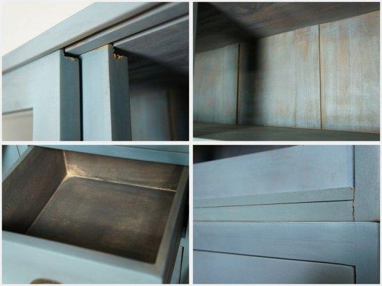 アンティーク調 ペイント キャビネット 食器棚 引き出し 15杯 ドロワー シャビーブルー