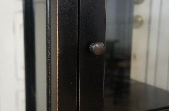 アンティーク調 3面 3段 キャビネット 収納 ガラスショーケース ブラック