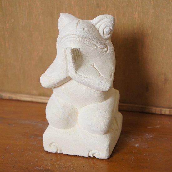パラス石 石彫り バリ島 アジアン オブジェ 置物 カエル 15cm (お願い正面)