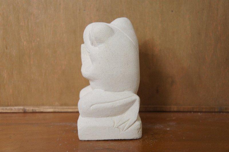 パラス石 石彫り バリ島 アジアン オブジェ 置物 カエル 15cm (お願い右向き)