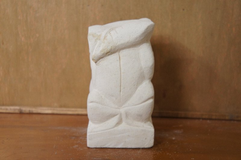 パラス石 石彫り バリ島 アジアン オブジェ 置物 カエル 15cm (葉っぱの傘左向き)