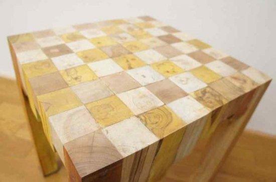 寄木ブロック スツール ナチュラル 椅子 銘木チーク 天然木 無垢