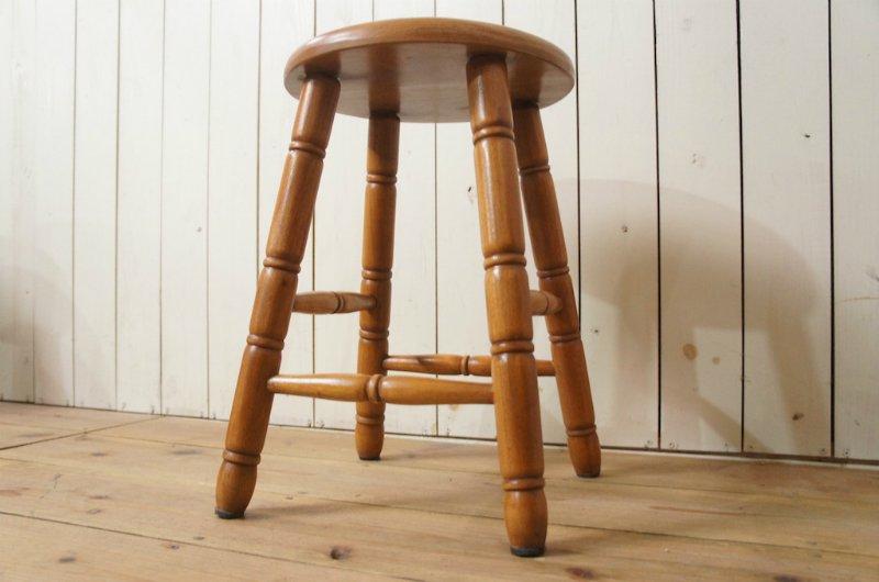 英国アンティーク調 西洋 スツール マホガニー無垢材 丸椅子 ナチュラル